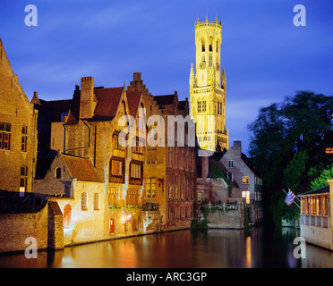 Gabled Houses and 13th c. Belfry along the canals, Bruges, Belgium - Stock Photo