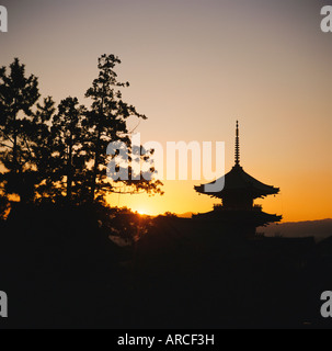 Kiyomizu-dera Temple, from 1633, the Pagoda at sunset, Kyoto, Kansai, Japan - Stock Photo