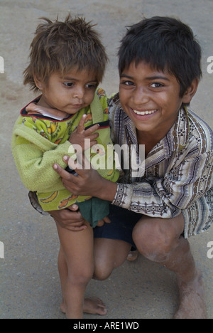 Two brothers in Pushkar, India - Stock Photo
