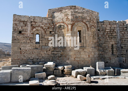 Inside the Acropolis at Lindos, Rhodes, Dodecanese Greece. - Stock Photo