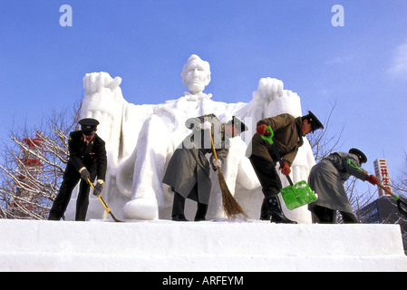Abraham Lincoln statue made of snow, Sapporo, Japan. - Stock Photo