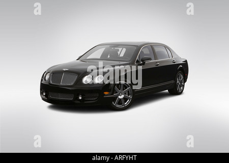 2007 Bentley Continental Flying Spur in Black - Front angle view - Stock Photo