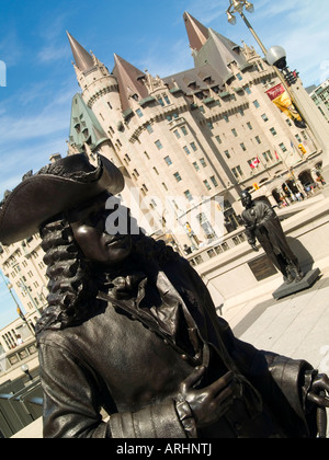 The Valiants Memorial and the Fairmont Chateau Laurier Hotel in Ottawa, Ontario Canada - Stock Photo