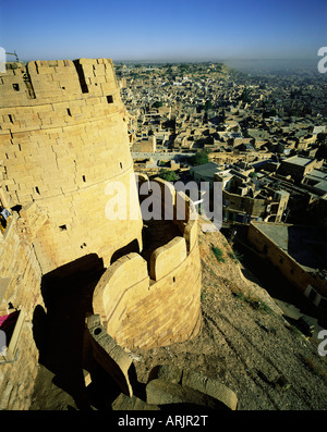 View of Jaisalmer and old surrounding walls, western Rajasthan, Rajasthan state, India, Asia - Stock Photo