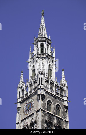 New Town Hall tower Munich, Bavaria, Germany - Stock Photo