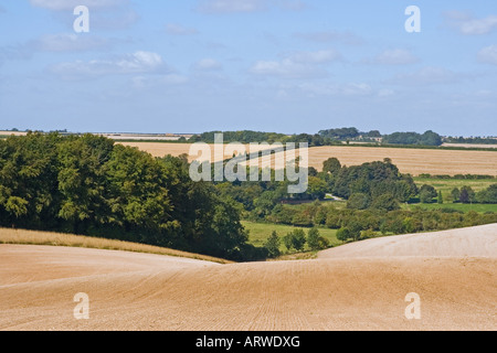 Harvest time in the Lincolnshire Wolds over Biscathorpe - Stock Photo