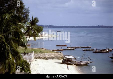 A sandy beach near the old stone town Zanzibar Tanzania East Africa - Stock Photo