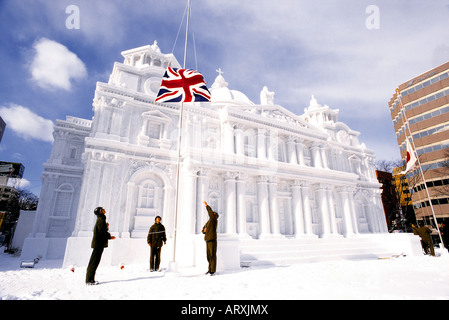 Buckingham Palace made of snow, Sapporo Snow Festival, Japan. - Stock Photo