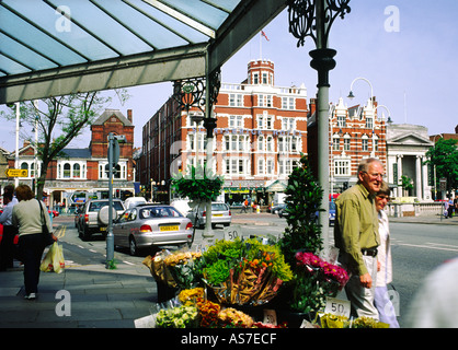 Lord Street and the Scarisbrick Hotel in Southport town centre. Merseyside, England. - Stock Photo