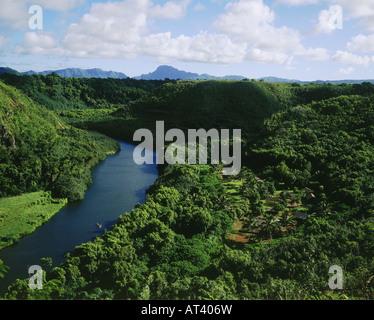 geography / travel, USA, Hawaii, Kauai, view of Wailua River, landscape, landscapes, tropical, - Stock Photo