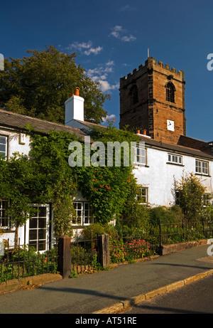 St Peter's Church & White Cottage, Little Budworth, Cheshire, England, UK - Stock Photo
