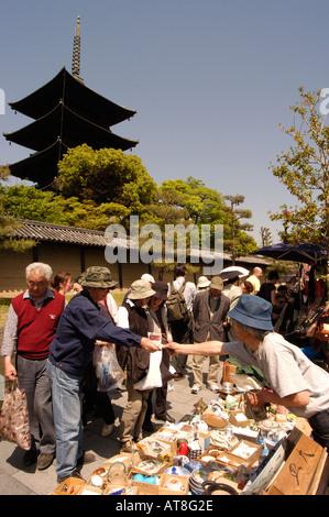 Toji temple monthly flea market Kyoto Japan - Stock Photo