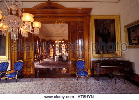Interior of Iolani Palace, built in 1892 by King David Kalakaua, the only Royal Palace in the USA - Stock Photo