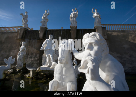 imitation of Trevi Fountain of Rome at the pleasure grounds of Mondo Verde, Landgraaf, Netherlands - Stock Photo
