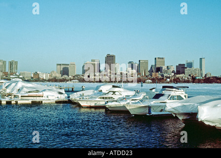 BOSTON Massachusetts, USA, Downtown Skyline from 'Charles River' Winter Boats Urban Landscape - Stock Photo