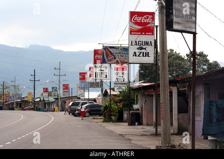 Dozens of small seafood restaurants line the highway on the eastern shore of Lago de Yojoa, Honduras. - Stock Photo