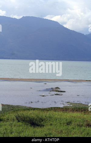 View of the lake, marsh, and mountains from the western shore of Lago de Yojoa, Honduras. - Stock Photo