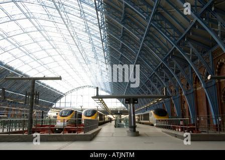 Eurostar trains at St Pancras International train station London England UK - Stock Photo