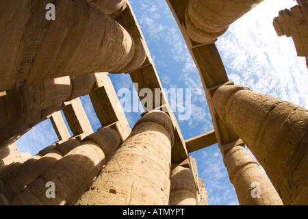 Hypostyle Hall Temple of Amun Karnak UNESCO World Heritage Site in Luxor Egypt North Africa - Stock Photo