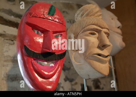 traditional face masks of Tras-Os-Montes, Portugal (Museum of the Mask in Bragança) - Stock Photo