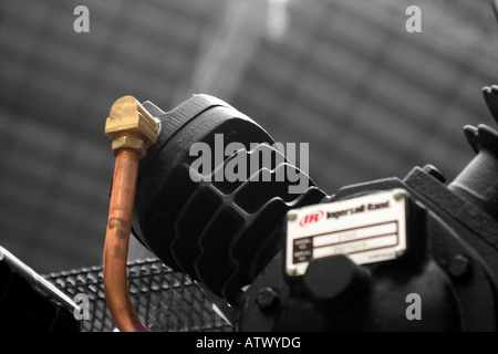 Two cylinder 'V' industrial air compressor - Stock Photo