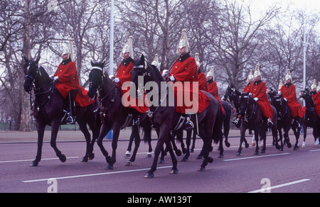 Queen's Life Guard, Household Cavalry, Mounted Regiment retiring from Buckingham Palace after Changing of the Guard - Stock Photo