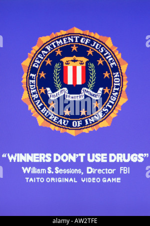 Winners Don t Use Drugs Splash Screen on Taito game William S Sessions Director FBI Vintage arcade videogame screen - Stock Photo