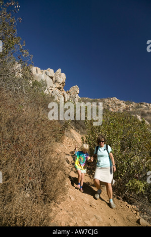 Woman and girl hiking San Diego, California, USA - Stock Photo