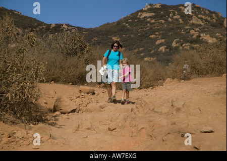 Woman and girl hiking Mission Trails Cowles Mountain San Diego, California, USA - Stock Photo