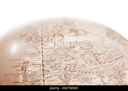 Vintage world map globe with shallow depth of field and focus on the Mediterranean Sea - Stock Photo
