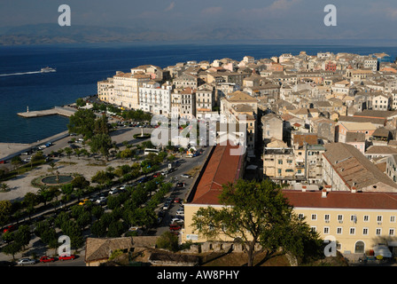 Corfu Old Town viewed from the New Venetian Fortress, Corfu Ionian island, Greece - Stock Photo