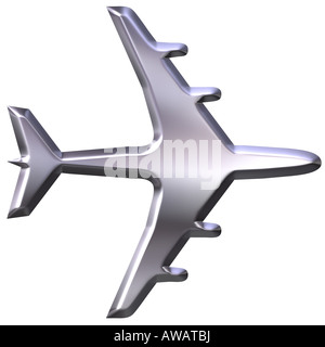 3d silver airplane - Stock Photo