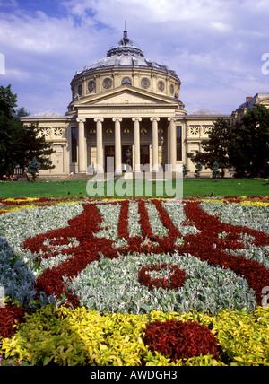 Romania - Romanian Athenaeum Concert Hall in the city of Bucharest - Stock Photo