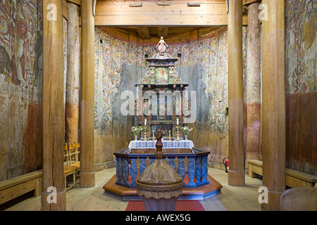 Altar, Heddal Stave Church (Heddal Stavkirke), thirteenth-century stave church in Norway, Scandinavia, Europe - Stock Photo