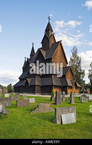 Exterior, Heddal Stave Church (Heddal Stavkirke), thirteenth-century stave church in Norway, Scandinavia, Europe - Stock Photo
