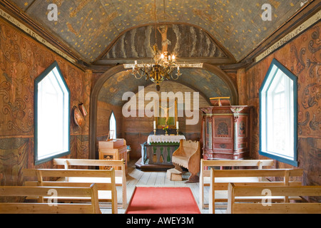 Interior of the stave church (12th century) in Undredal at Aurlandsfjord, Norway, Scandinavia, Europe - Stock Photo