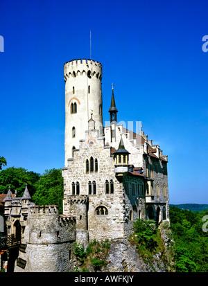 Schloss Lichtenstein (Lichtenstein Castle) near Reutlingen, Swabian Alb, Baden-Wuerttemberg, Germany, Europe - Stock Photo