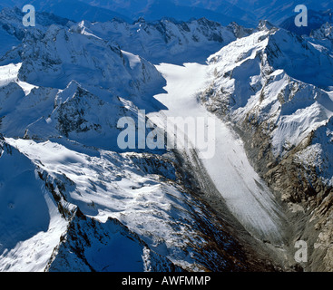 Aerial shot, Forno Glacier, Bergell, Grisons, Switzerland, Europe - Stock Photo