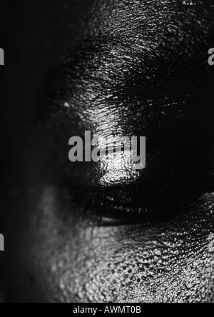 Man's eye, close up, black and white. - Stock Photo