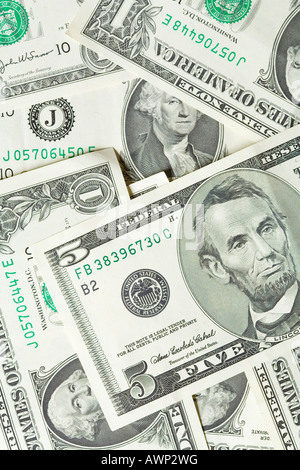US cash, various denominations - Stock Photo