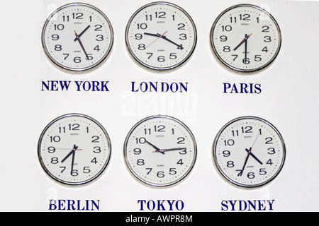 Time in different cities of the world - Stock Photo