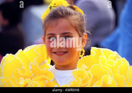 Girl in festive dress , Traje de gitana Fiesta in the suburb of Madrid , Madrid , Spain , Europe - Stock Photo