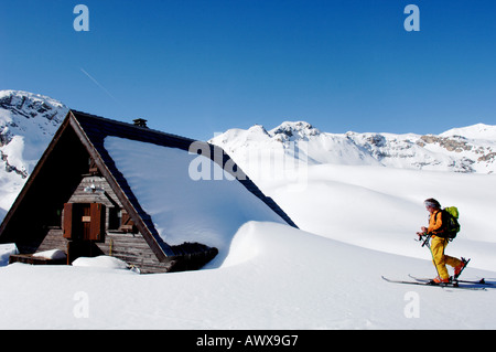 ski hiking in the National Park of Vanoise, France, Savoie, Vanoise NP, Val d Isere - Stock Photo