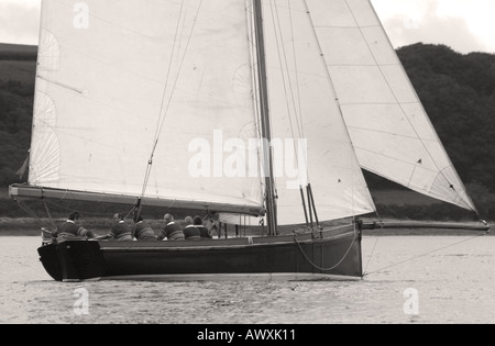 Falmouth Working Boat sailing in Falmuth Harbour, Cornwall, England, Black and White - Stock Photo