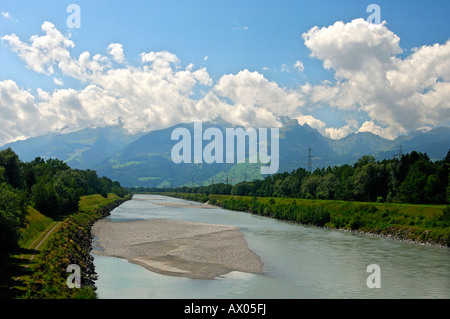 In the valley of the Rhine River near Ruggell Principality of Liechtenstein - Stock Photo