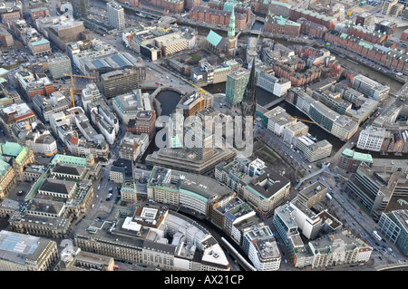 Bird's eye view of parts of the Speicherstadt district and St. Nicolas' Church in Hamburg, Germany, Europe - Stock Photo