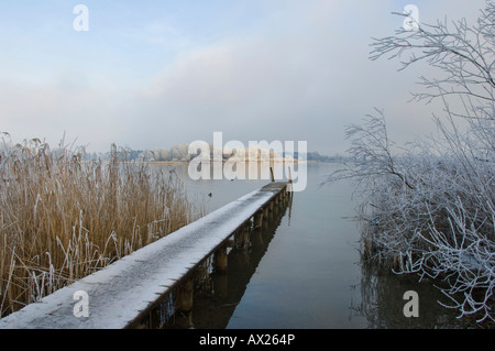 Landing stage, Chiemsee, Upper Bavaria, Bavaria, Germany - Stock Photo