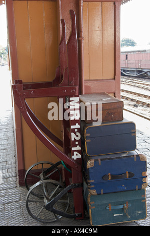 Old Fashioned luggage on a railway trolley at Bridgnorth Railway Station on the Severn Valley Railway - Stock Photo