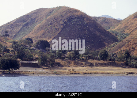 Gombe, Tanzania. Village on the shores of Lake Tanganyika with crops planted on very steep slopes of a hill; fish - Stock Photo