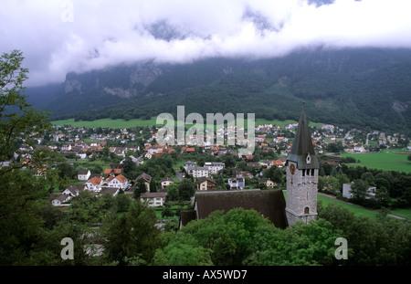 Village of Balzers in Liechtenstein the small country next to Switzerland - Stock Photo
